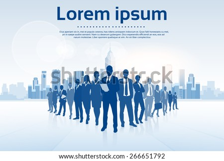 Business People Group Silhouettes Over City Landscape Modern Office Buildings, Vector Illustration