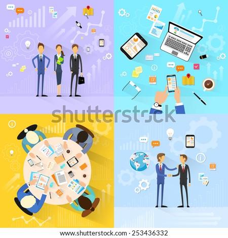 business people group working set, handshake meeting, team working flat design vector illustration - stock vector