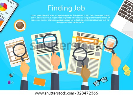 Business People Hands Searching Job Newspaper Classified Magnifying Glass Office Desk Flat Vector Illustration - stock vector