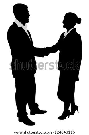 business people handshake illustration - stock vector