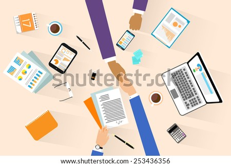 Business people handshake meeting signing agreement, businessmen hand shake sitting at desk top angle view vector illustration - stock vector