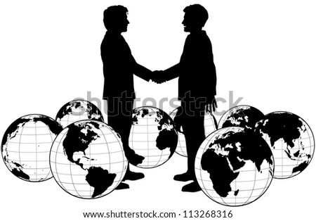 Business people handshake on global deal in circle of world globes - stock vector