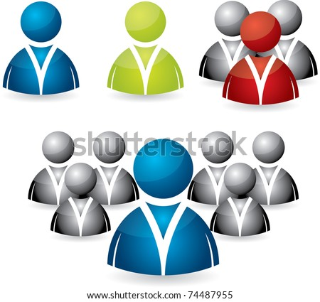 Business people icon set in various colors - stock vector