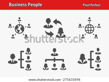 Business People Icons. Professional, pixel perfect icons optimized for both large and small resolutions. EPS 8 format. Designed at 32 x 32 pixels.  - stock vector