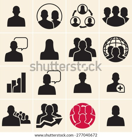 Business people icons. Vector people black icons set. - stock vector