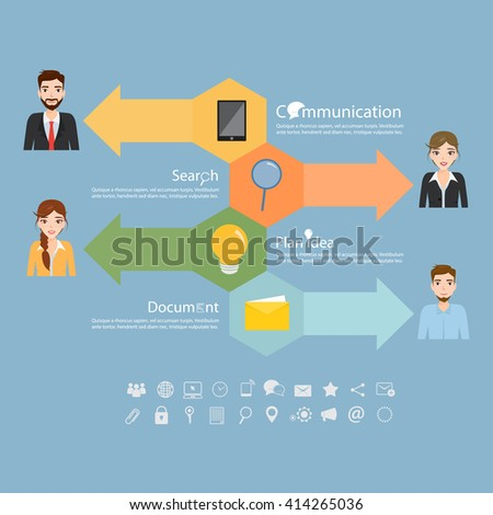 Business people icons with dialog idea speech bubbles infographic concept.