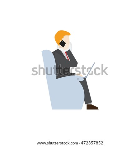 Business people illustration. Calling from flight illustration.