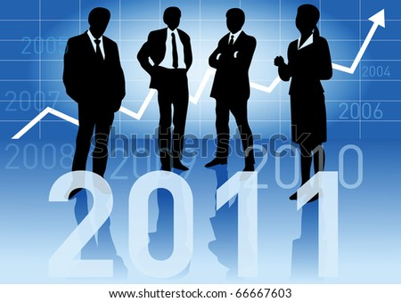 Business people in different situations with a big 2011 sign in front and with a business graph arrow going up and showing the years 1994-2010 in the background. - stock vector