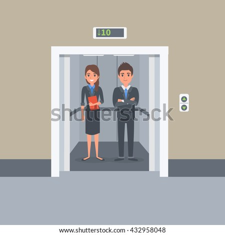 people in elevator clipart. business people in office building elevator. vector illustration. elevator clipart a