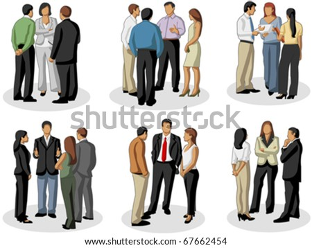 Business people in office meeting - stock vector