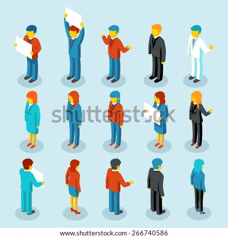 Business people isometric 3d vector figures. Set of woman and man. Vector illustration - stock vector