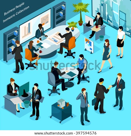 Business people isometric indoor icons collection of office staff busying in workflow meeting discussions and presentation vector illustration - stock vector