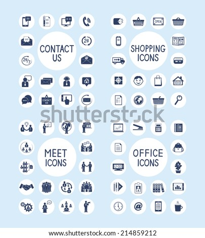Business people meeting contact us customer care internet shopping marketing and office stationery supplies icons set isolated vector illustration - stock vector