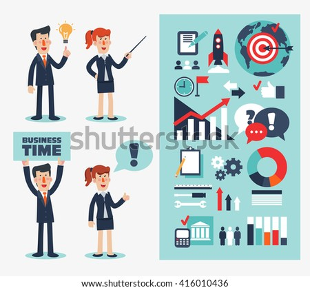 Business people modern vector set. Businessmen and women in various poses and situations. Infographics elements and icons. Success, idea, marketing presentations and business strategy concept design - stock vector
