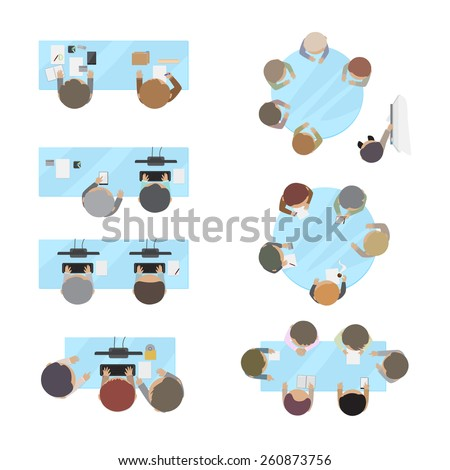 Business People, Office Workers, Brainstorming, Development, Coworking Space, Set - Isolated On White Background - Vector Illustration, Graphic Design Editable For Your Design - stock vector