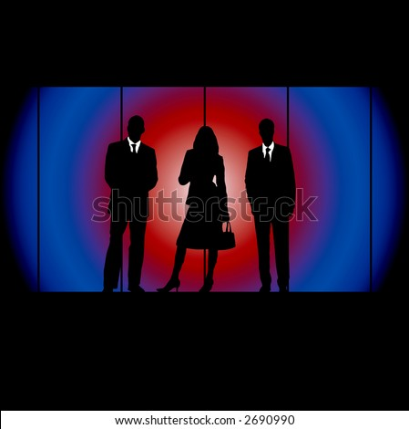 business people on a blue and red radiating background