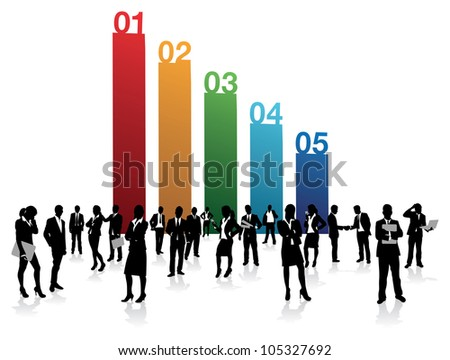 business people on a number background