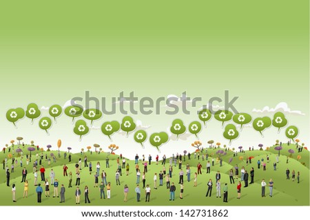 Business people on Green hills landscape talking by speech balloon with recycle icon  - stock vector