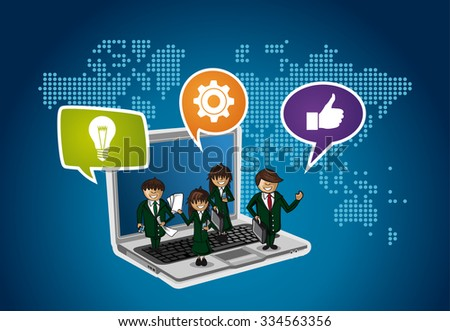 Business people on laptop computer, internet communication networking around the world concept illustration. EPS10 vector file. - stock vector