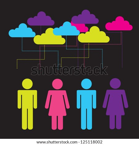 Business people over black background vector illustration - stock vector