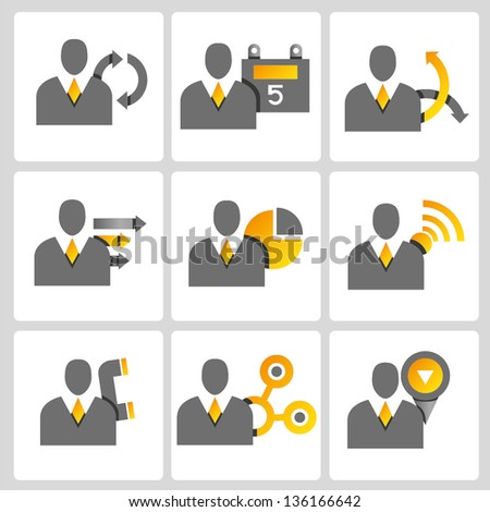 business people, profile, business management vector icon set, gold color set - stock vector