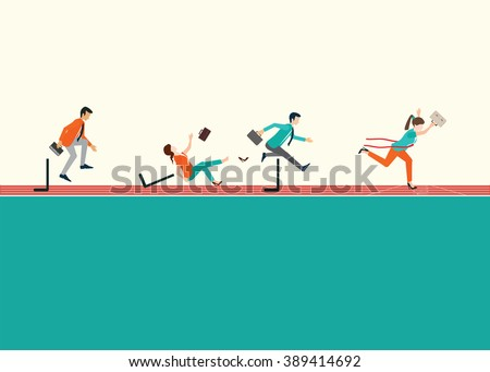 Business people running  and jumping hurdles on red rubber track, business competition, conceptual vector illustration. - stock vector