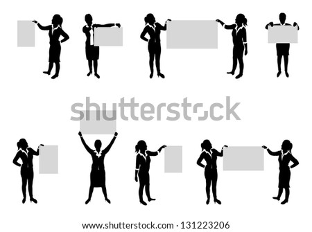 business people set holding up boards - stock vector