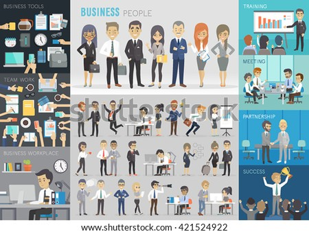 Business people set. Vector illustration. - stock vector