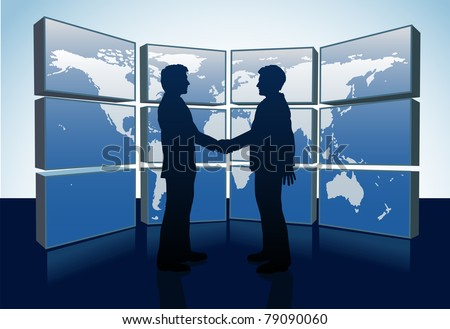 Business people shake hands agreement and world map monitors - stock vector