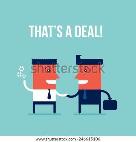 Business people shaking hands making a deal Teamwork Partnership Successful business concept - stock vector