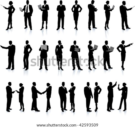Business People Silhouette Super Set26 unique high-detailed silhouettes featuring beautiful sexy modelsEach Silhouette is groupedFile is AI 8 compatible and easy to manage - stock vector