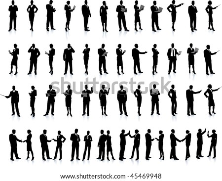 Business People Silhouette Super Set 52 unique high-detailed silhouettes featuring beautiful sexy models Each Silhouette is grouped File is AI 8 compatible and easy to manage