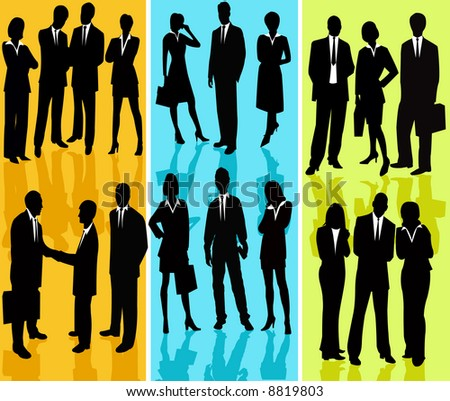 Business people silhouette vector - stock vector
