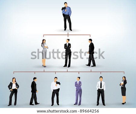 business people silhouettes in a pyramidal structure - stock vector