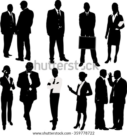 business people silhouettes - vector - stock vector