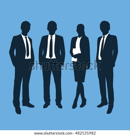 Business people silhouettes. Vector illustration isolated on blue background
