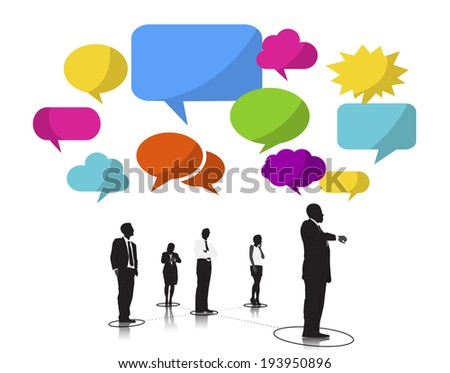 Business People Silhouettes Waiting and Speech Bubbles - stock vector