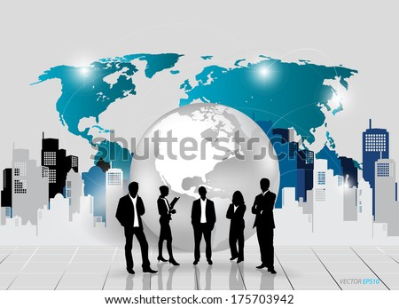 Business people silhouettes with building background. Vector illustration.