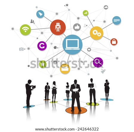 Business People Silhouettes Working and Network Concept Vector - stock vector
