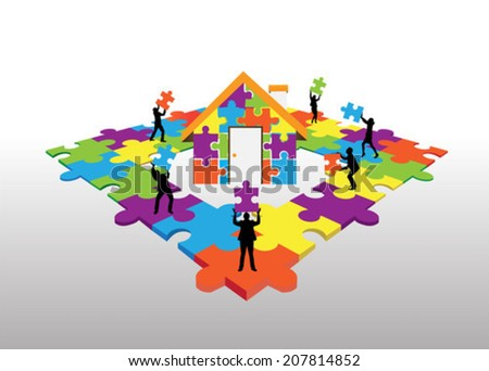 Business people standing on jigsaw puzzle building house - stock vector