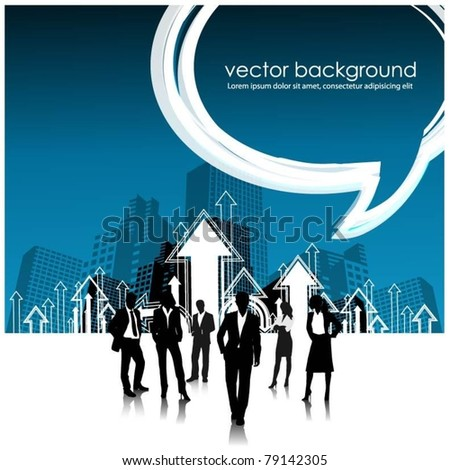 business people team in the city with speech bubble - stock vector