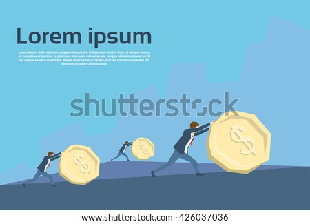 Business People Team Push Coin Financial Crisis Concept Flat Vector Illustration - stock vector