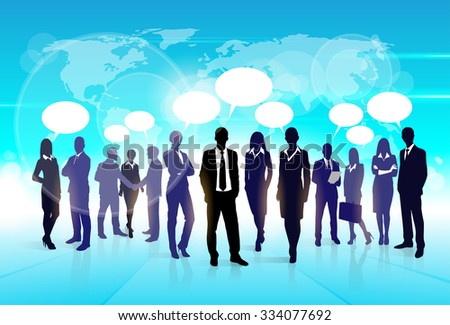 Business People Team Speech Communication Bubble Businesspeople Social Group Silhouette Talking Discussing Chat Flat Vector Illustration