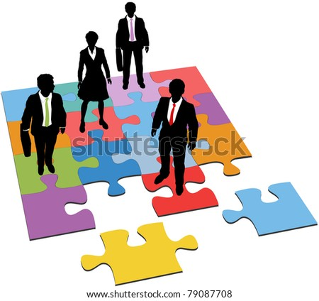Business people team stand on puzzle as a solution to human resources management need - stock vector