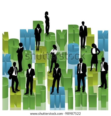 business people team standing on a 3d alphabet. vector - stock vector