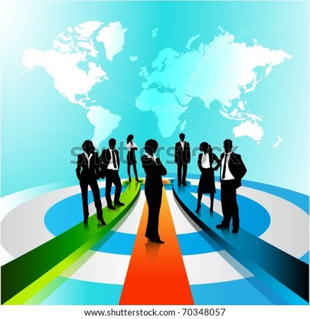 business people team standing on a 3d arrows-vector - stock vector