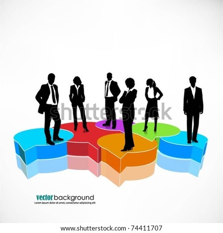 business people team standing on a 3d colorful speech bubbles- vector - stock vector