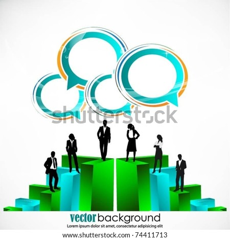 business people team standing on a 3d graph with speech bubbles-vector design - stock vector