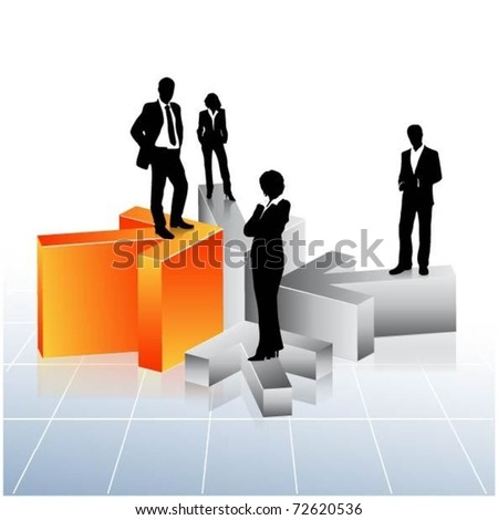 business people team standing on 3d arrows-vector - stock vector