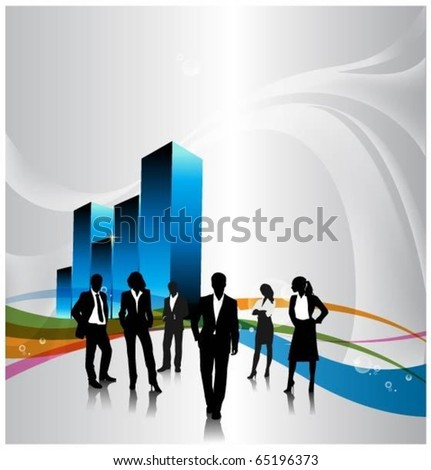 business people team with a 3d vector graph